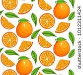 orange fruit pattern. sweet... | Shutterstock .eps vector #1012311424