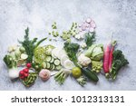 plant based raw food seasonal... | Shutterstock . vector #1012313131