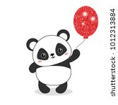 panda bear illustration. panda... | Shutterstock .eps vector #1012313884