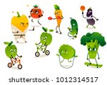 set of funny vegetables doing... | Shutterstock .eps vector #1012314517