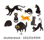 set of black and red cats... | Shutterstock .eps vector #1012314544