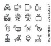 wireless technology icon set | Shutterstock .eps vector #1012316137
