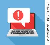 notification. laptop and speech ... | Shutterstock .eps vector #1012317487