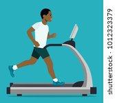 afro american man running on...   Shutterstock .eps vector #1012323379