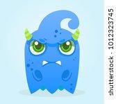 cute cartoon ghost. grumpy... | Shutterstock .eps vector #1012323745