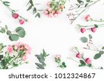 flowers composition. frame made ...   Shutterstock . vector #1012324867