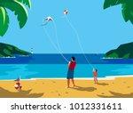 kiting on sea beach. leisure... | Shutterstock .eps vector #1012331611