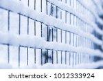 mesh in winter on nature in...   Shutterstock . vector #1012333924