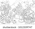 Sea Bottom Illustration  Line...