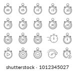simple set of stopwatch related ... | Shutterstock .eps vector #1012345027
