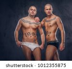 two handsome sexy guys. | Shutterstock . vector #1012355875