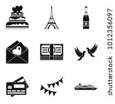 Honeymoon Trip Icons Set....