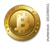 realistic 3d golden bitcoin... | Shutterstock .eps vector #1012356511