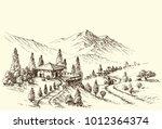 farm and village landscape... | Shutterstock .eps vector #1012364374