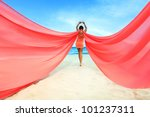 Woman With Red Scarf On The...