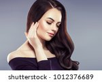 beautiful hairstyle female with ... | Shutterstock . vector #1012376689