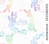 hand drawn floral seamless... | Shutterstock .eps vector #1012382431