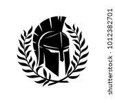 spartan helmet and wreath. | Shutterstock .eps vector #1012382701