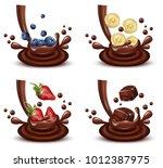 chocolate splash set with... | Shutterstock .eps vector #1012387975