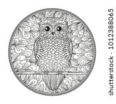 circle mandala with owl....   Shutterstock .eps vector #1012388065