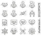 simple set of handshake related ... | Shutterstock .eps vector #1012395475