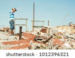 sad and depressed man observes... | Shutterstock . vector #1012396321