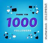 1k followers thank you banner... | Shutterstock .eps vector #1012398565