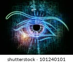 Backdrop on the subject of modern technologies, mechanical progress, artificial intelligence, virtual reality and digital imaging composed of eye outlines, fractal and abstract design elements - stock photo