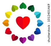 colored hearts in a circle  12... | Shutterstock .eps vector #1012401469