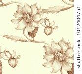 seamless background. dahlia is... | Shutterstock . vector #1012404751