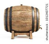 wooden barrel isolated on white ... | Shutterstock . vector #1012407721