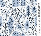 scandinavian winter forest... | Shutterstock .eps vector #1012408795
