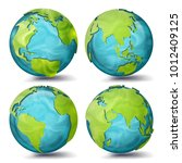 world map vector. 3d planet set.... | Shutterstock .eps vector #1012409125