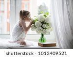a little girl is sitting on the ... | Shutterstock . vector #1012409521