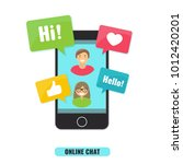 social network and online chat... | Shutterstock .eps vector #1012420201