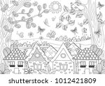 nature landscape with cozy... | Shutterstock .eps vector #1012421809