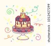 vector birthday cake with... | Shutterstock .eps vector #1012427299