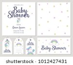 baby shower card with cute... | Shutterstock .eps vector #1012427431