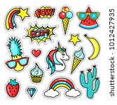 fashion patch badges with... | Shutterstock .eps vector #1012427935