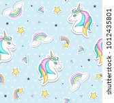 seamless pattern with cute... | Shutterstock .eps vector #1012435801