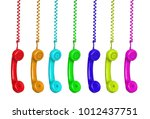 colorful phones hanging from a... | Shutterstock . vector #1012437751