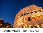 night view of colosseum in rome ... | Shutterstock . vector #1012439761