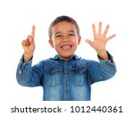 adorable child counting with... | Shutterstock . vector #1012440361