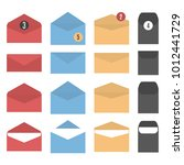 set colored paper envelopes of... | Shutterstock . vector #1012441729