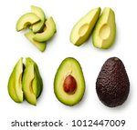 whole and sliced avocado... | Shutterstock . vector #1012447009