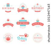 happy birthday badges and... | Shutterstock .eps vector #1012447165