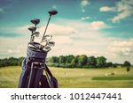 golf equipment bag standing on... | Shutterstock . vector #1012447441
