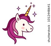 cute unicorn with pink mane... | Shutterstock .eps vector #1012448641