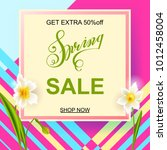 square banner with daffodils on ... | Shutterstock .eps vector #1012458004