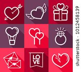 valentine day set icons. vector ... | Shutterstock .eps vector #1012458139